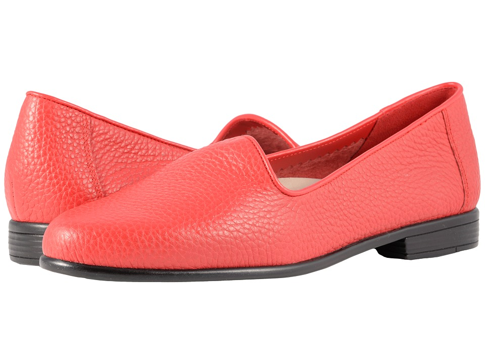 Retro Vintage Flats and Low Heel Shoes Trotters - Liz Tumbled Red Very Soft Leather Womens Slip on  Shoes $94.95 AT vintagedancer.com