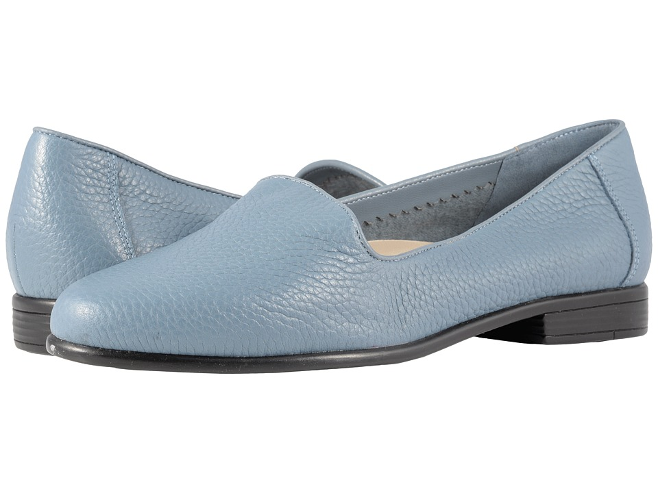 Retro Vintage Flats and Low Heel Shoes Trotters - Liz Tumbled Blue Very Soft Leather Womens Slip on  Shoes $94.95 AT vintagedancer.com