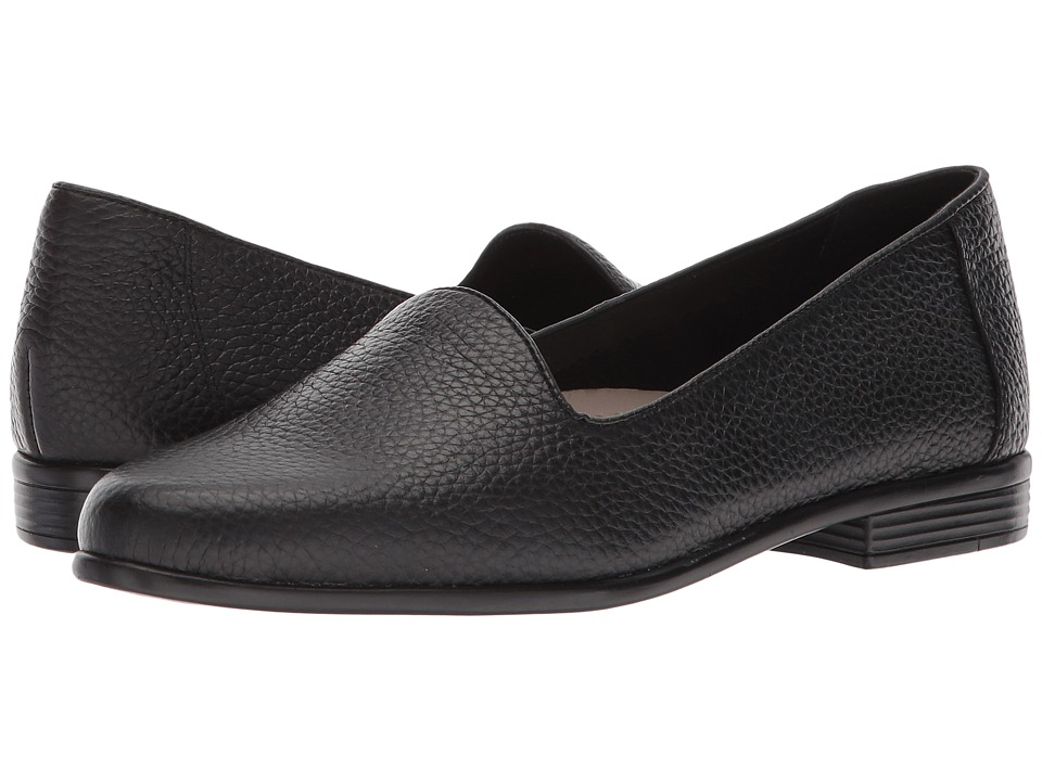 Trotters Liz Tumbled (Black Very Soft Leather) Slip-On Shoes