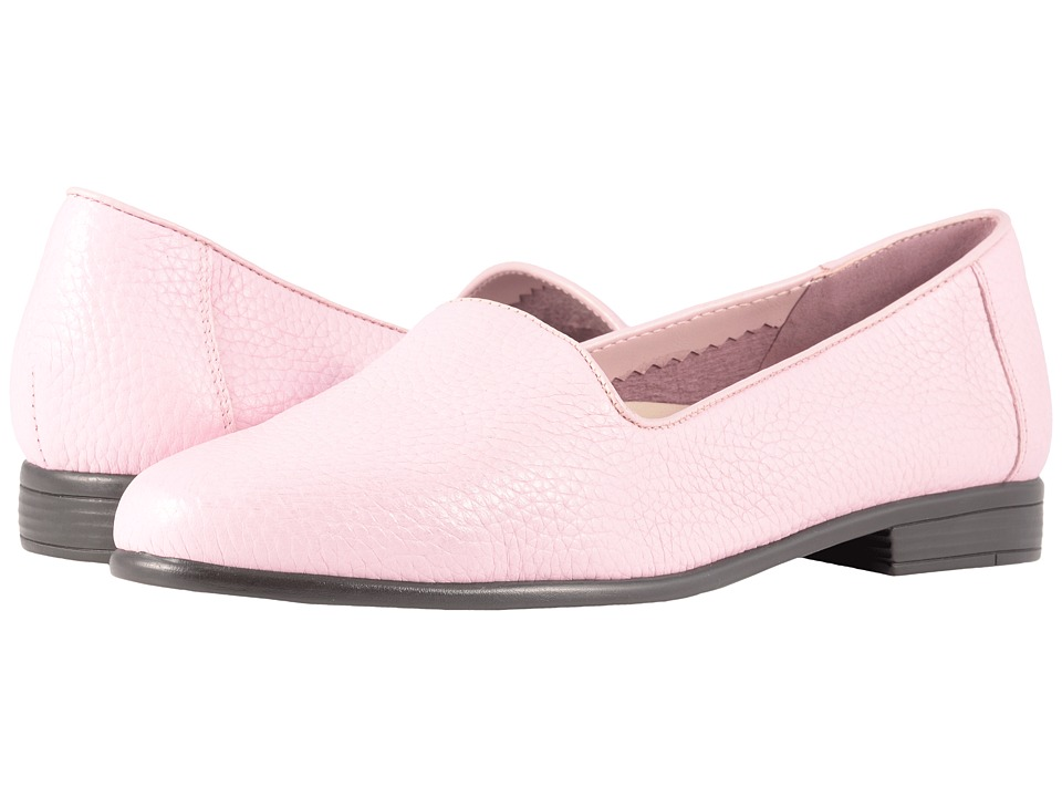 Retro Vintage Flats and Low Heel Shoes Trotters - Liz Tumbled Pink Very Soft Leather Womens Slip on  Shoes $94.95 AT vintagedancer.com
