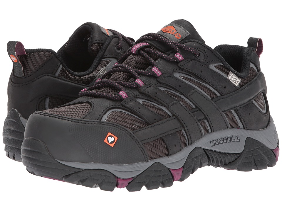 Merrell Work - Moab 2 Vent Waterproof CT (Black) Womens Lace up casual Shoes
