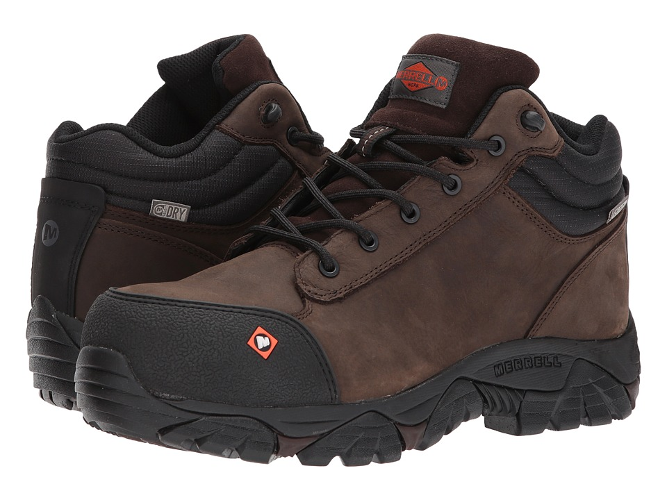 Merrell Work - Moab Rover Mid Waterproof CT (Espresso) Mens Work Lace-up Boots