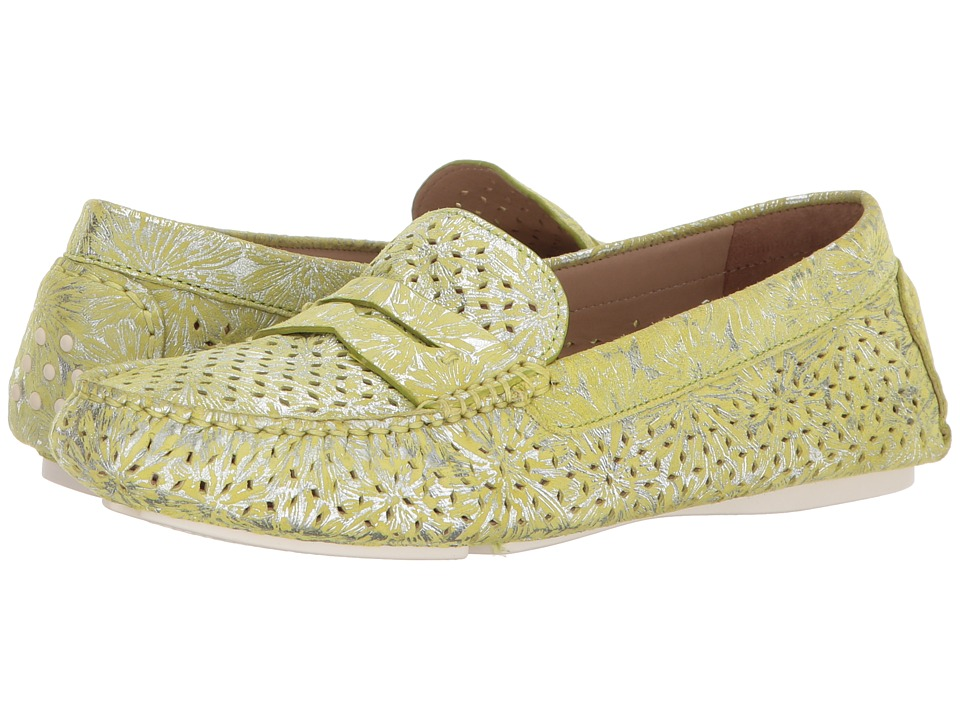 Johnston & Murphy - Maggie Perfed Penny (Lime Metallic Print Suede) Womens Slip on  Shoes