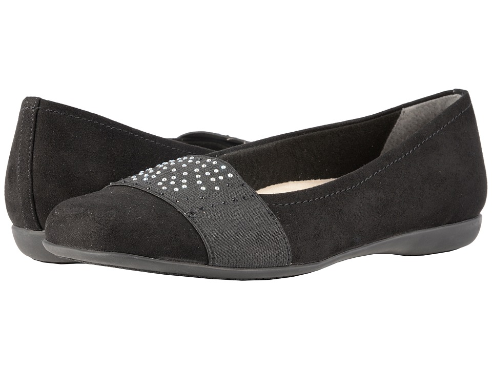 Trotters Samantha (Black Microfiber/Elastic) Slip-On Shoes