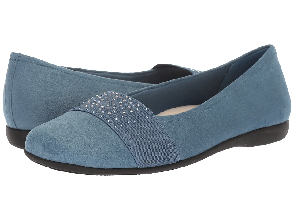 Trotters Samantha (Blue Microfiber/Elastic) Slip-On Shoes