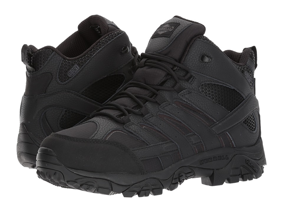 Merrell Work - Moab 2 Mid Tactical Waterproof (Black) Mens Lace-up Boots