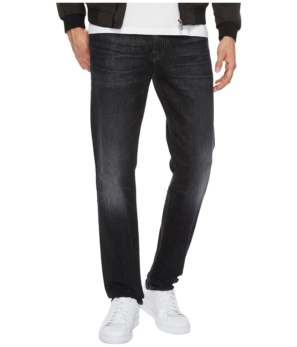 7 For All Mankind Slimmy Slim Straight w/ Clean Pocket in All Nighter (All Nighter) Men