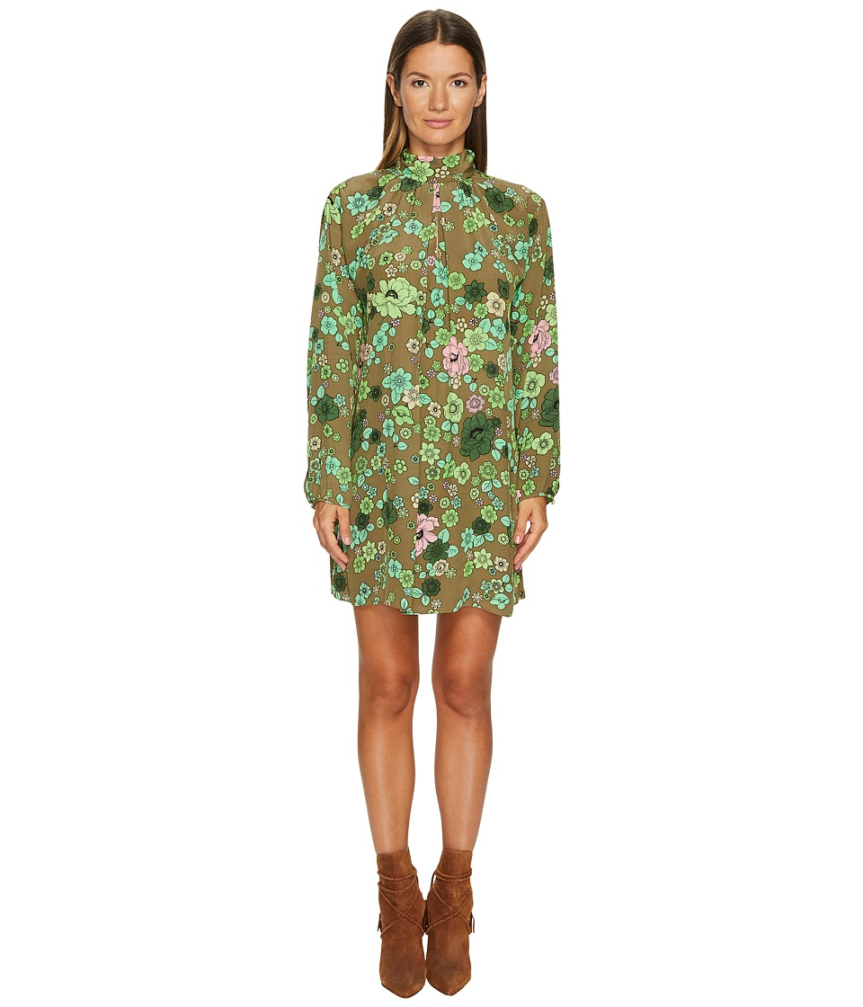 Boutique Moschino - Crepe Shift Dress (Green Floral) Womens Dress