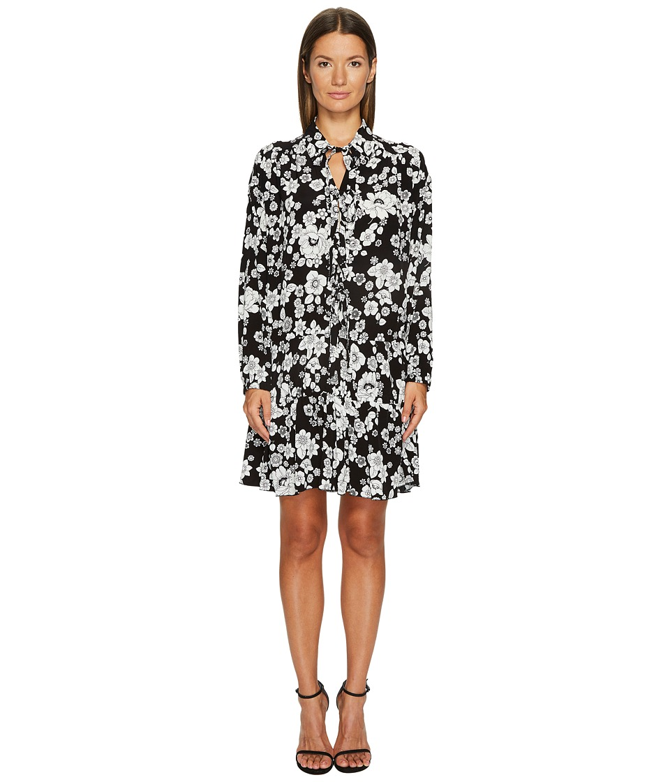 Boutique Moschino - Long Sleeve Floral Dress (Black/White) Womens Dress