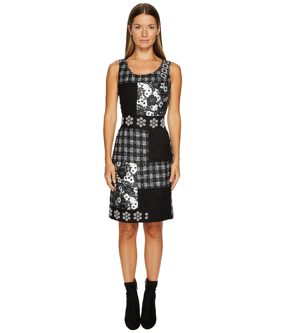 Boutique Moschino - Patchwork Tweed Dress (Black/White) Womens Dress