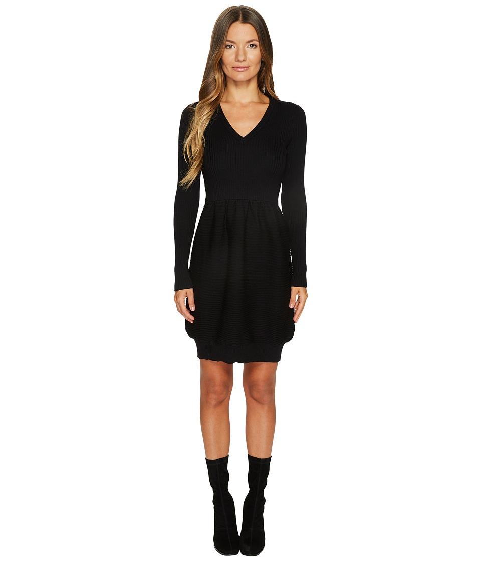 Boutique Moschino Knit Long Sleeve Dress (Black) Women