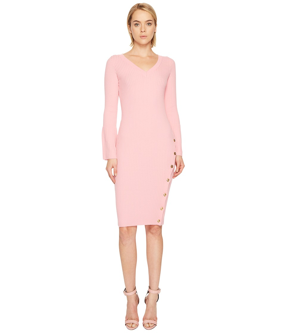 Boutique Moschino Long Sleeve Knit Bodycon Dress (Pink) Women