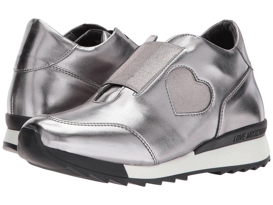 LOVE Moschino Platform Sneaker with Heart Detail (Steel Silver) Women