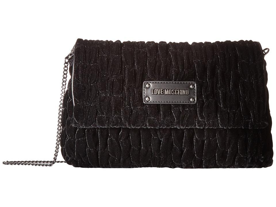 LOVE Moschino - Velvet Gathered Rectangle Bag (Black) Handbags