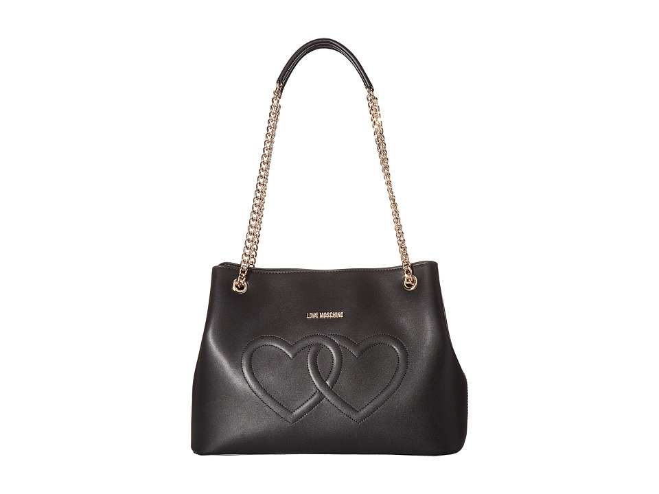 LOVE Moschino - Embossed Heart Shoulder Bag (Black) Shoulder Handbags