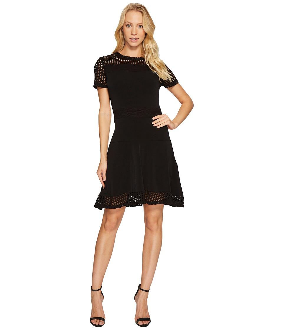 MICHAEL Michael Kors Mesh Combo Dress (Black) Women