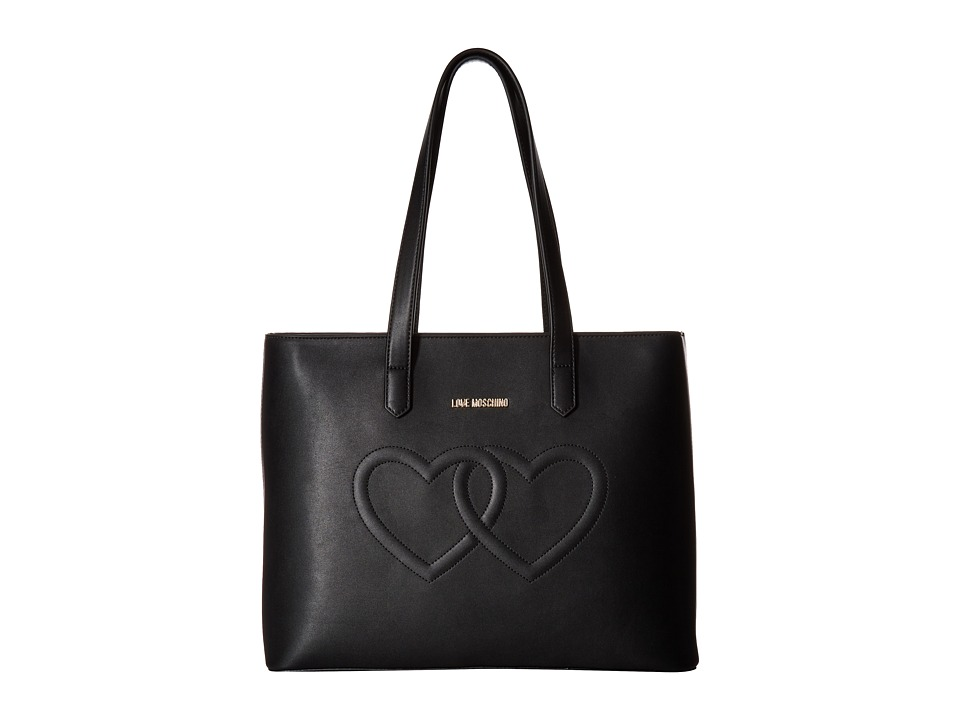LOVE Moschino - Embossed Heart Tote Bag (Black) Tote Handbags