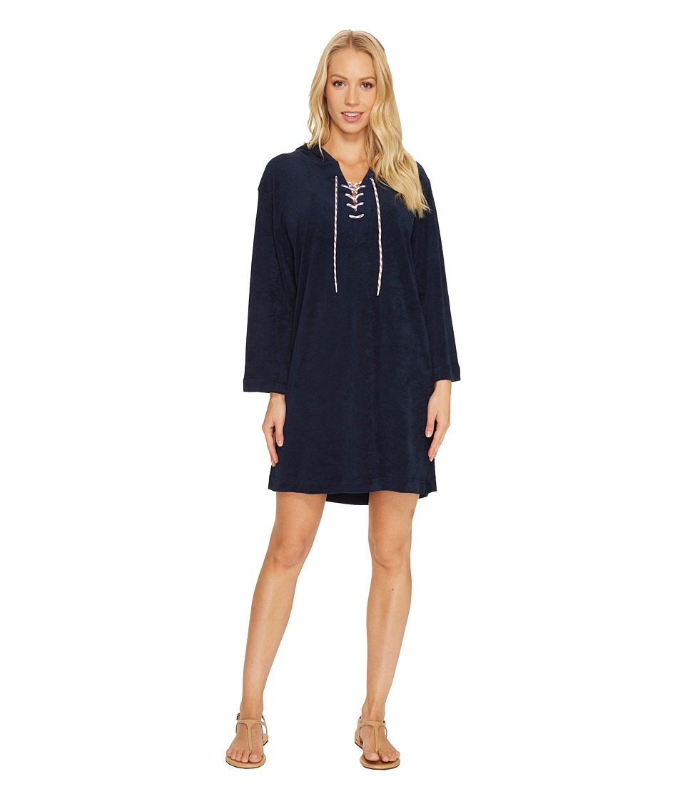 Seafolly Island Vibe Lace-Up Towelling Cover-Up (Navy) Women