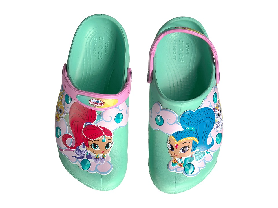 Crocs Kids - Fun Lab Shimmer Shine Lights Clog (Toddler/Little Kid) (New Mint) Girls Shoes