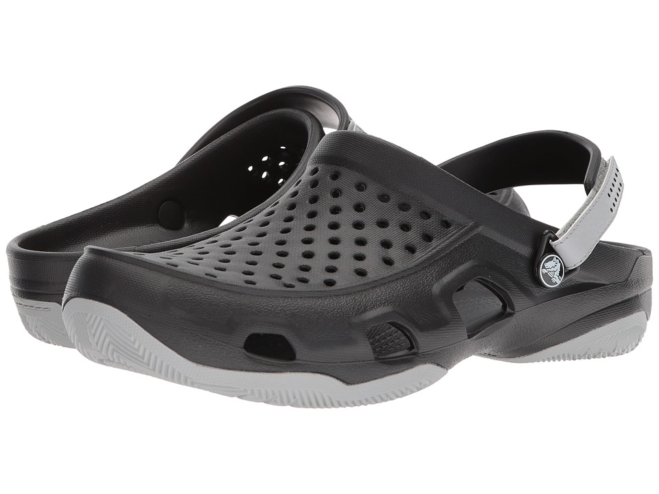 Crocs - Swiftwater Deck Clog (Black/Light Grey) Mens Clog/Mule Shoes