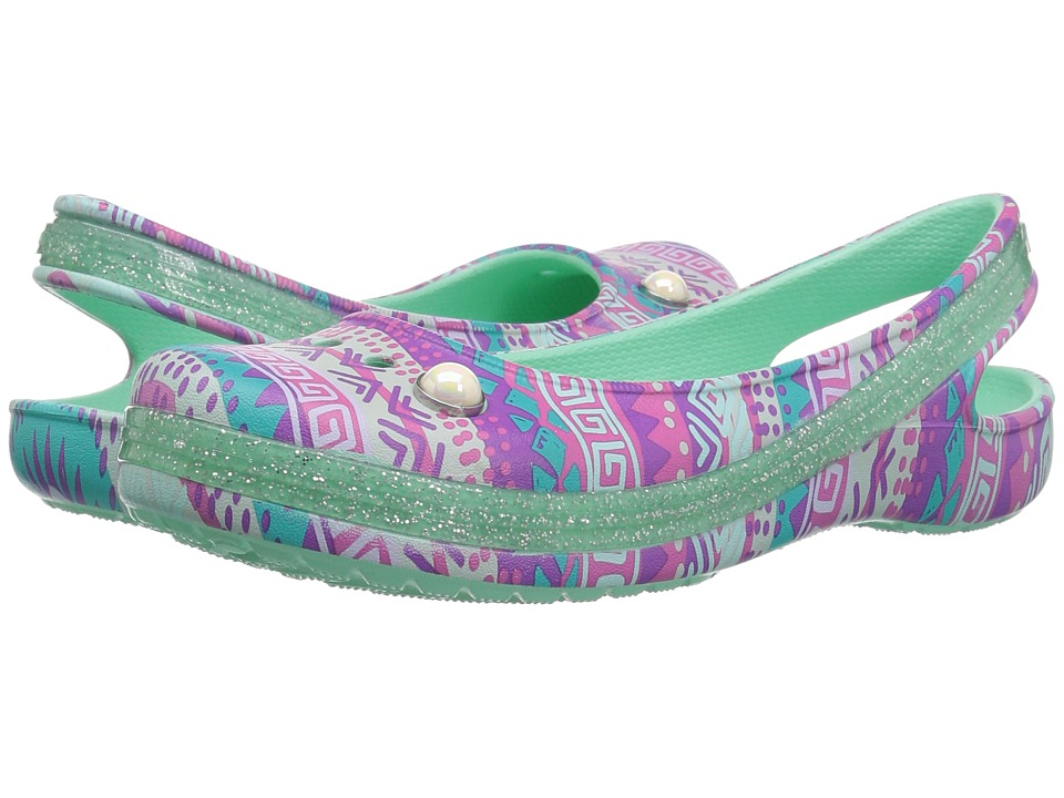 Crocs Kids - Genna II Graphic Sparkle Sling (Toddler/Little Kid/Big Kid) (Mint) Girls Shoes