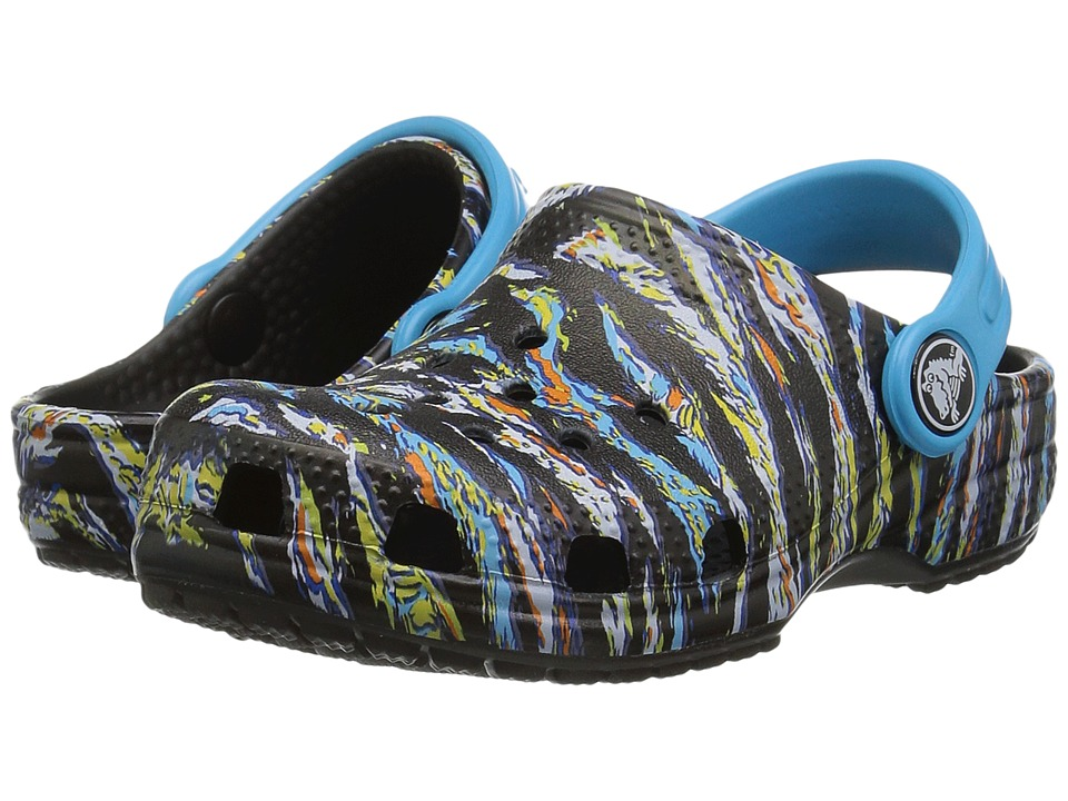 Crocs Kids - Classic Graphic Clog (Toddler/Little Kid) (Black) Kids Shoes