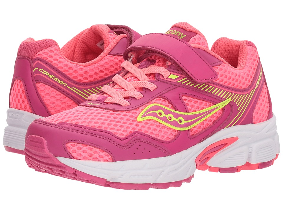 Saucony Kids - Cohesion 10 A/C (Little Kid/Big Kid) (Pink/Coral) Girls Shoes