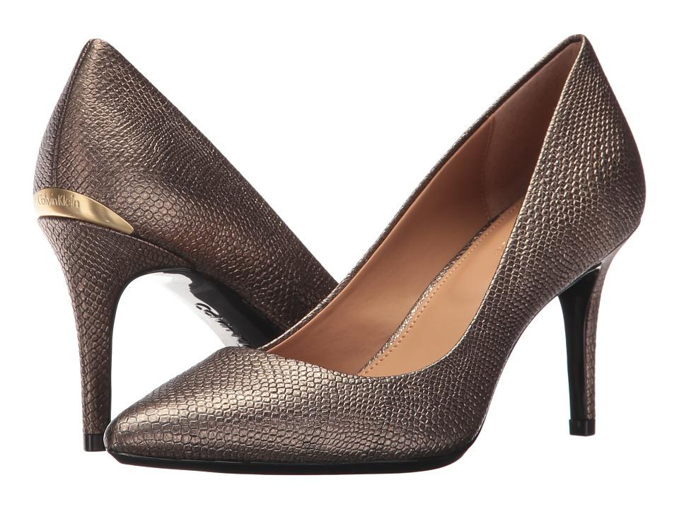 Calvin Klein Gayle (Gold Foiled Lizard) High Heels