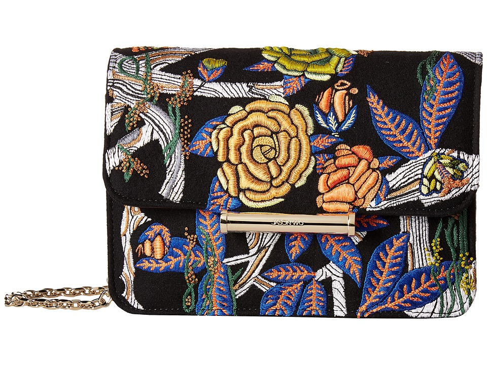 Jason Wu - Diane Floral Embroidered Chain Wallet (Black Multi) Wallet Handbags