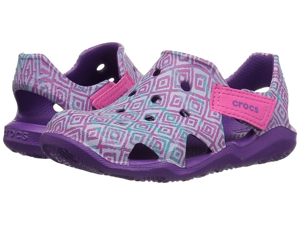 Crocs Kids - Swiftwater Wave Graphic (Toddler/Little Kid) (Amethyst) Kids Shoes