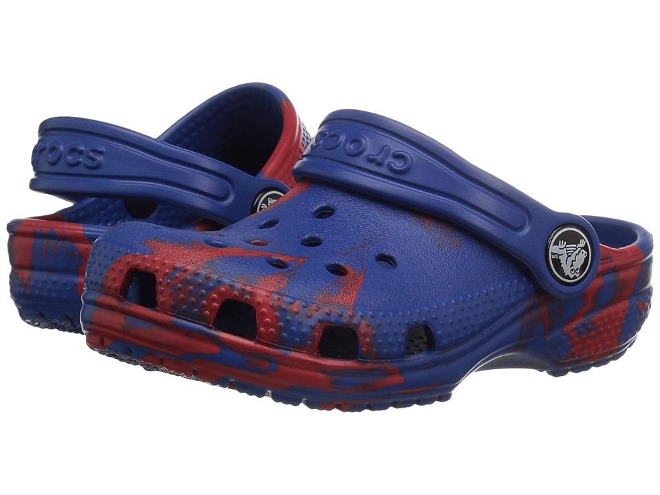 Crocs Kids - Classic Swirl Clog (Toddler/Little Kid) (Red/Blue) Kids Shoes