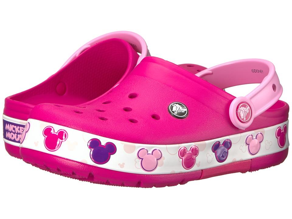 Crocs Kids - Crocband Mickey Fun Lab Lights Clog (Toddler/Little Kid) (Candy Pink) Kids Shoes