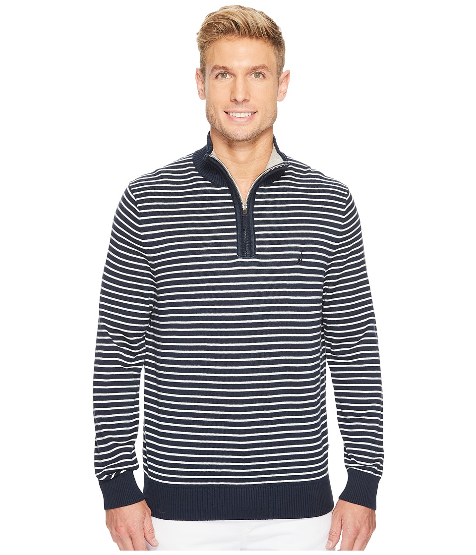 Nautica 12 Gauge Striped 1/4 Zip (True Navy) Men