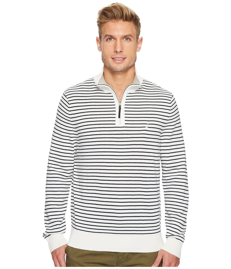 Nautica 12 Gauge Striped 1/4 Zip (Marshmallow) Men