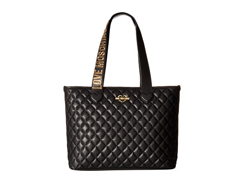 LOVE Moschino Fashion Quilted Branded Tote - Black