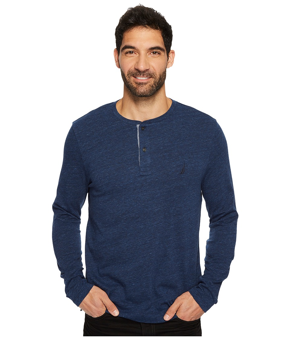 Nautica Long Sleeve Snow Cotton Henley (Deep Navy Heather) Men