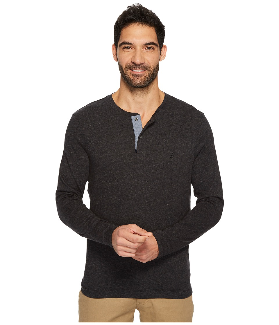 Nautica Long Sleeve Snow Cotton Henley (True Black) Men