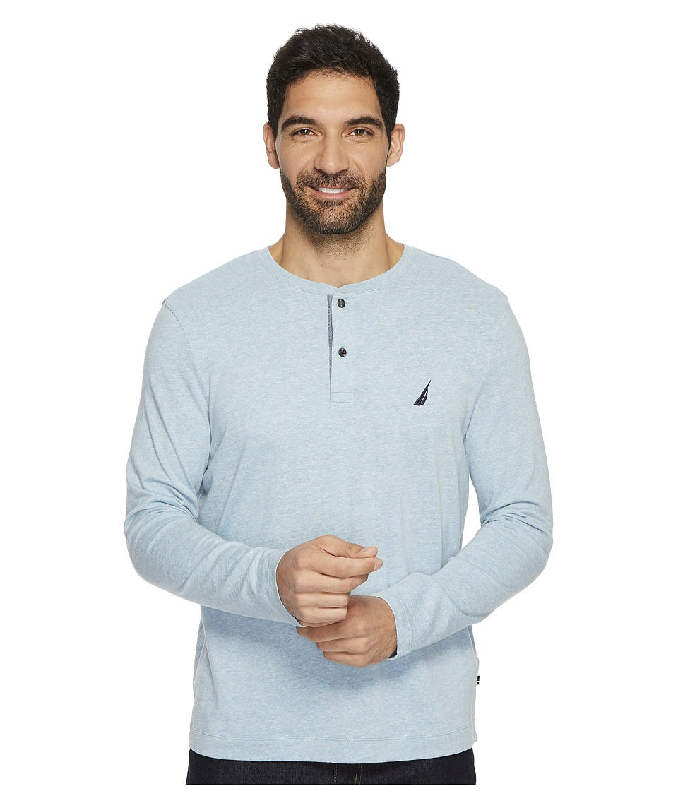 Nautica Long Sleeve Snow Cotton Henley (Anchor Blue) Men