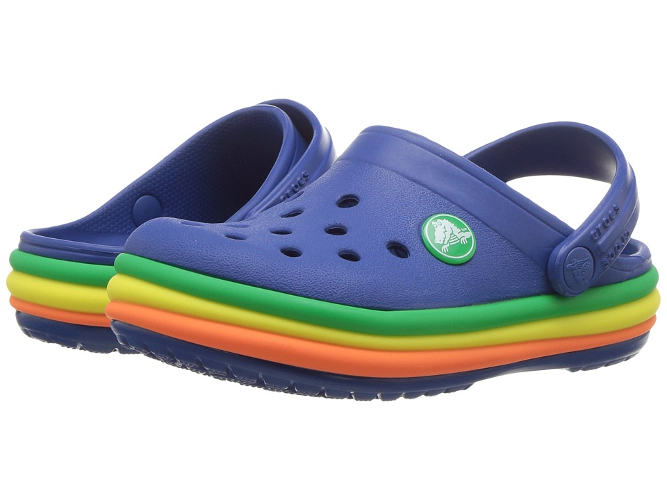 Crocs Kids - Crocband Rainbow Band Clog (Toddler/Little Kid) (Blue Jean) Kids Shoes