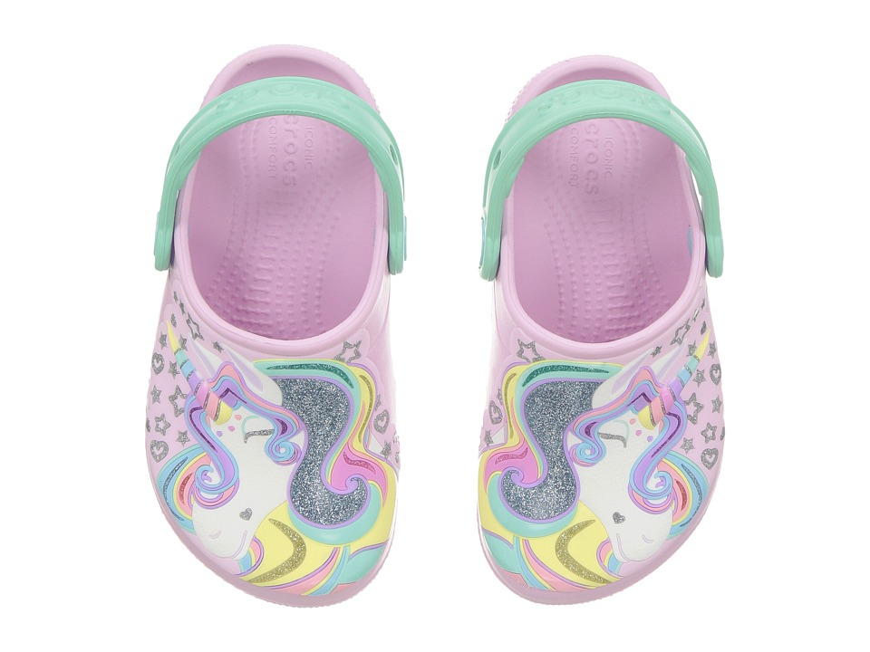 Crocs Kids - FunLab Unicorn Clog (Toddler/Little Kid) (Ballerina Pink/New Mint) Kids Shoes