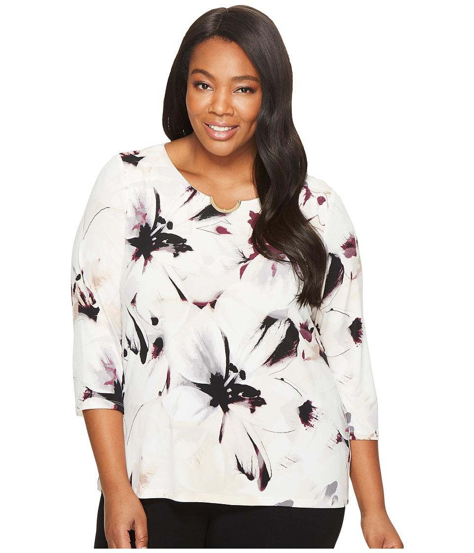 Calvin Klein Plus - Plus Size 3/4 Sleeve Blouse w/ Arch Hardware
