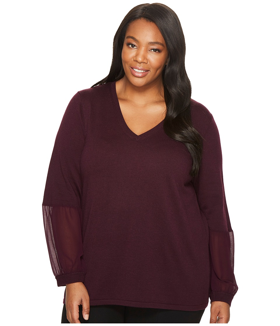 Calvin Klein Plus - Plus Size V-Neck with Chiffon Cuff Blouse (Aubergine) Womens Blouse