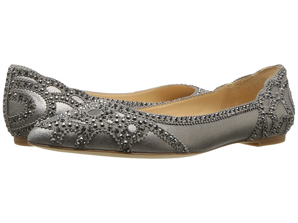 Retro Vintage Flats and Low Heel Shoes Badgley Mischka - Gigi Pewter Metallic Suede Womens Flat Shoes $184.95 AT vintagedancer.com
