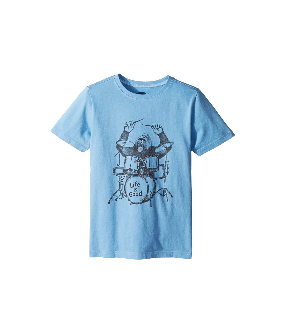 Life is Good Kids - Gorilla Drumming Crusher Tee (Little Kids/Big Kids) (Powder Blue) Boys T Shirt
