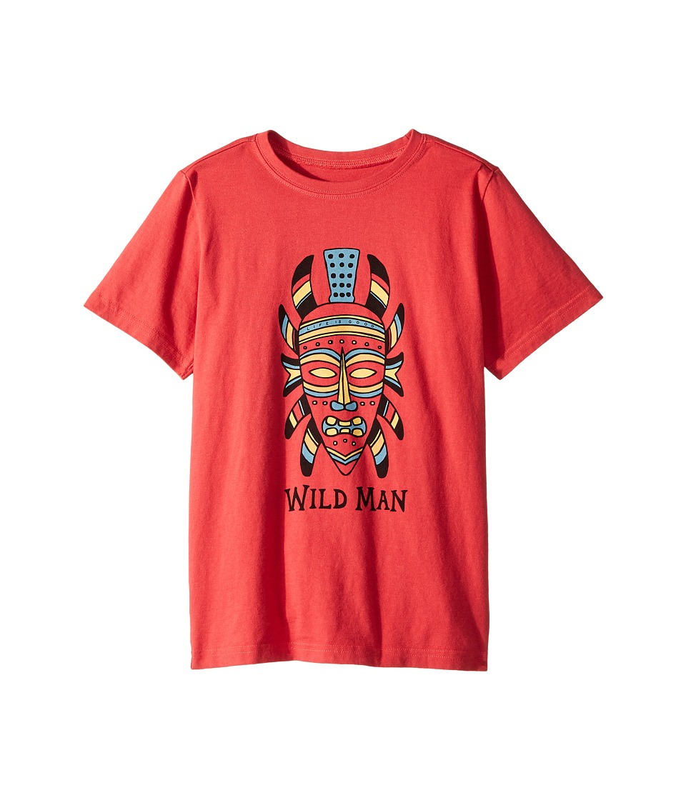 Life is Good Kids - Wild Man Mask Crusher Tee (Little Kids/Big Kids) (Americana Red) Boys T Shirt