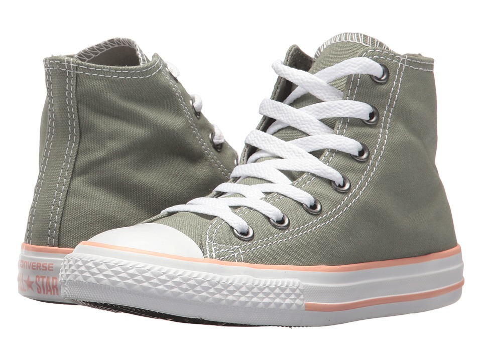 Converse Kids - Chuck Taylor All Star Hi (Little Kid) (Dark Stucco/Pale Coral/White) Girls Shoes