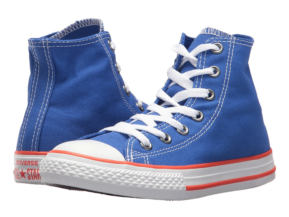 Converse Kids - Chuck Taylor(r) All Star(r) Core Hi (Little Kid) (Hyper Royal/Bright Poppy/White) Kids Shoes