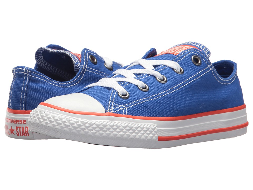 Converse Kids Chuck Taylor All Star Ox (Little Kid) (Hyper Royal/Bright Poppy/White) Kids Shoes