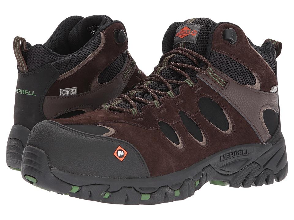 Merrell Work - Ridgepass Bolt Mid Waterproof CT (Espresso) Mens Industrial Shoes