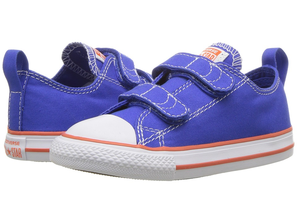 Converse Kids Chuck Taylor All Star 2V Ox (Infant/Toddler) (Hyper Royal/Bright Poppy/White) Boys Shoes